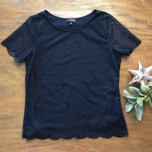 The Limited short sleeve double layer blue top S